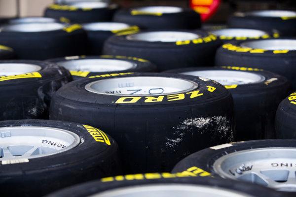 2017 FIA Formula 2 Round 11. Yas Marina Circuit, Abu Dhabi, United Arab Emirates. Thursday 23 November 2017. Pirelli tyres Photo: Sam Bloxham/FIA Formula 2. ref: Digital Image _J6I0929