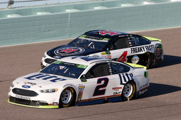 Monster Energy NASCAR Cup Series Ford EcoBoost 400 Homestead-Miami Speedway, Homestead, FL USA Sunday 19 November 2017 Brad Keselowski, Team Penske, Miller Lite Ford Fusion Kevin Harvick, Stewart-Haas Racing, Jimmy John's Ford Fusion World Copyright: Matthew T. Thacker LAT Images