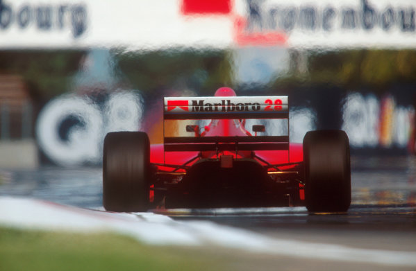 Imola, Italy.29/4-1/5 1994.Gerhard Berger (Ferrari 412T1). He exited the race after with a wheel problem.Ref-94 SM 52.World Copyright - LAT Photographic