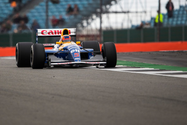 Silverstone, Northamptonshire, UK.  Saturday 15 July 2017. Karun Chandhok drives the Championship winning Williams FW14B Renault, raced in 1992 by Nigel Mansell, as part of the Williams 40th Anniversary celebrations. World Copyright: Dom Romney/LAT Images  ref: Digital Image GT2R3296