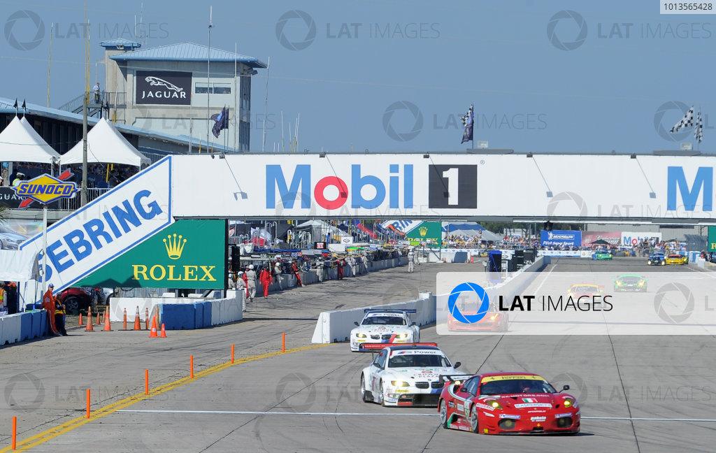 14-19 March 2011. Sebring, Florida USA#51 AF Corse Ferrari F430 followed by BMW's on front straight.©2011 Dan R. Boyd LAT Photo USA