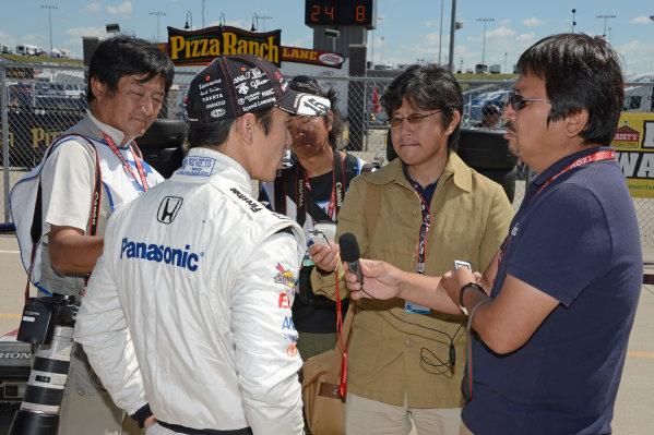 22-23 June, 2012, Newton, Iowa USA#15 Takuma Sato Rahal Letterman Lanigan Racing Honda with Japanese media(c)2012, Dan R. Boyd LAT Photo USA