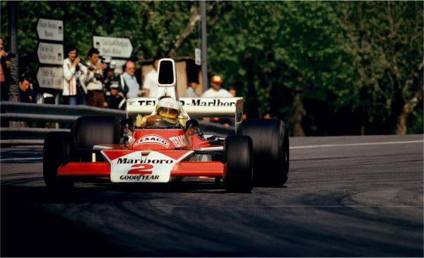 Montjuich Park, Barcelona, Spain. 25-27 April 1975.  Jochen Mass (McLaren M23-Cosworth), 1st position, action. World Copyright: LAT Photographic