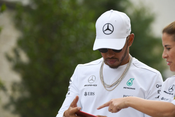 Lewis Hamilton (GBR) Mercedes AMG F1 at Formula One World Championship, Rd17, United States Grand Prix, Preparations, Circuit of the Americas, Austin, Texas, USA, Thursday 19 October 2017.