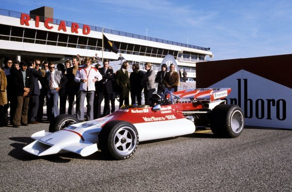 The BRM P160B is launched, complete with new sponsorship from Marlboro, with Peter Gethin (GBR) at the wheel. BRM Launch, Paul Ricard, France, 1972.