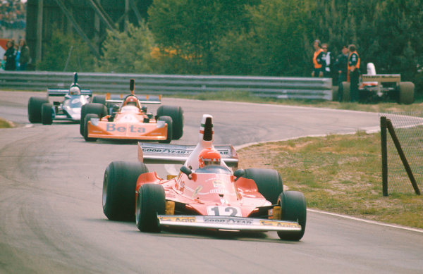 1975 Belgian Grand Prix.Zolder, Belgium.23-25 May 1975.Niki Lauda (Ferrari 312T) 1st position leads Vittorio Brambilla (March 751 Ford) and Jody Scheckter (Tyrrell 007 Ford).Ref-75 BEL 02.World Copyright - LAT Photographic
