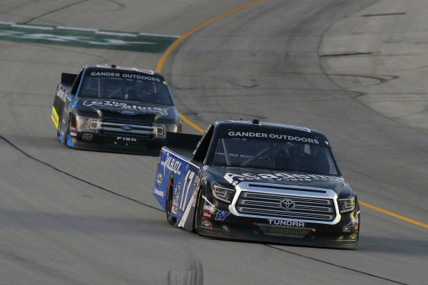 #17: Tyler Ankrum, DGR-Crosley, Toyota Tundra Academy Sports + Outdoors / RAILBLAZA and #99: Ben Rhodes, ThorSport Racing, Ford F-150 Carolina Nut