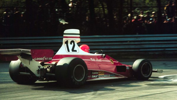 1975 Italian Grand Prix.Monza, Italy.5-7 September 1975.Niki Lauda (Ferrari 312T) 3rd position clinching the World Championship.World Copyright - LAT Photographic