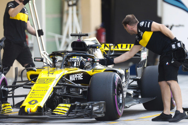 Nico Hulkenberg, Renault Sport F1 Team R.S. 18., stops in his pit area.