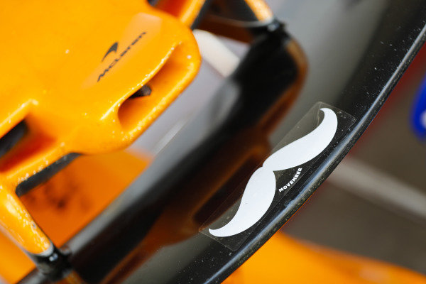 A moustache on the nose of the McLaren MCL33 Renault.