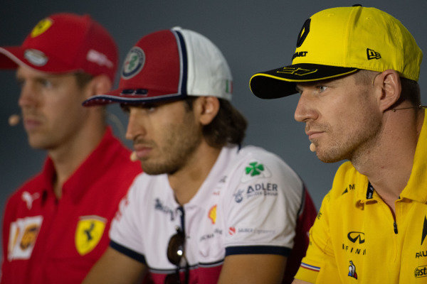Nico Hulkenberg, Renault F1 Team, Antonio Giovinazzi, Alfa Romeo Racing and Sebastian Vettel, Ferrari in the Press Conference