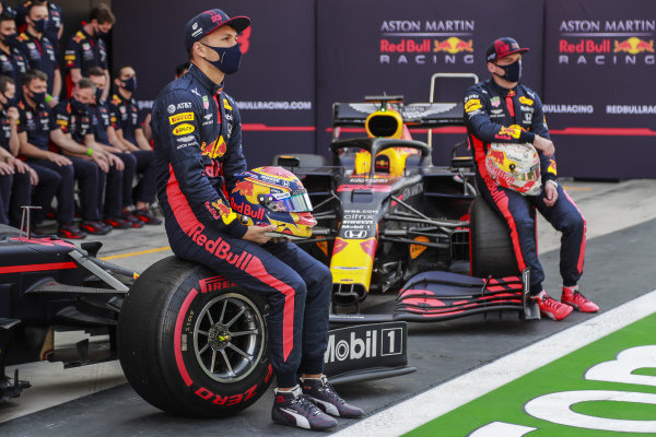 Alexander Albon, Red Bull Racing, and Max Verstappen, Red Bull Racing