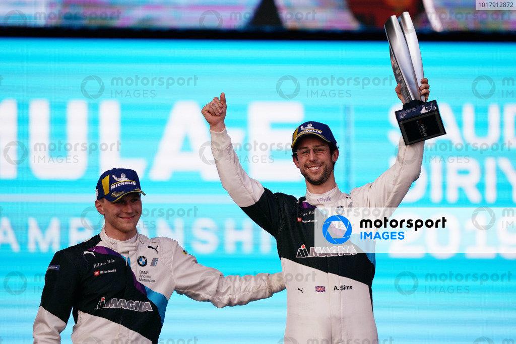 Maximilian Günther (DEU), BMW I Andretti Motorsports, BMW iFE.20, and Alexander Sims (GBR) BMW I Andretti Motorsports, BMW iFE.20 on the podium