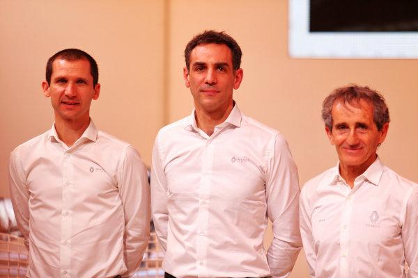 lltr Remi Taffin (FRA) Renault Sport F1 Engine Technical Director; Cyril Abiteboul (FRA) Renault Sport F1 Managing Director; Alain Prost (FRA) Renault F1 Team Non-Executive Director. Copyright: James Moy/XPB/Renault F1