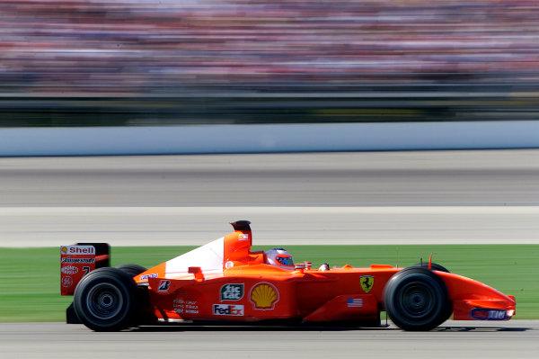 2001 American Grand Prix - RaceIndianapolis, United States. 30th September 2001.Rubens Barrichello, Ferrari F2001, action.World Copyright: Steve Etherington/LAT Photographicref: 18mb Digital Image