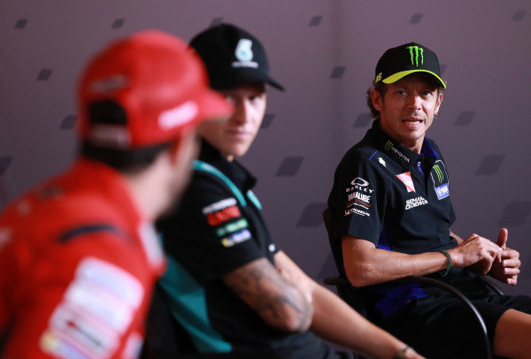 Andrea Dovizioso, Ducati Team, Fabio Quartararo, Petronas Yamaha SRT  Valentino Rossi, Yamaha Factory Racing .