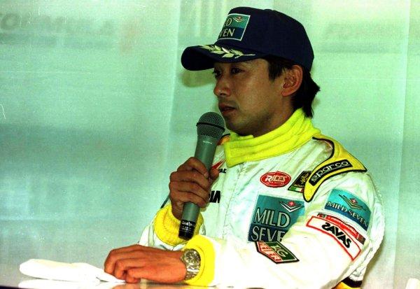 1997 Japanese Grand Prix.Suzuka, Japan.10-12 October 1997.Ukyo Katayama (Minardi Hart) announces his retirement from F1.World Copyright - LAT Photographic