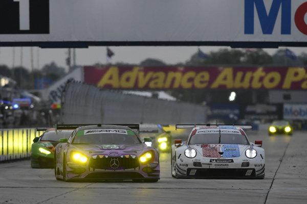 #71 P1 Motorsports Mercedes-AMG GT3, GTD: Maximilian Buhk, Fabian Schiller, JC Perez, #911 Porsche GT Team Porsche 911 RSR, GTLM: Patrick Pilet, Nick Tandy, Frederic Makowiecki
