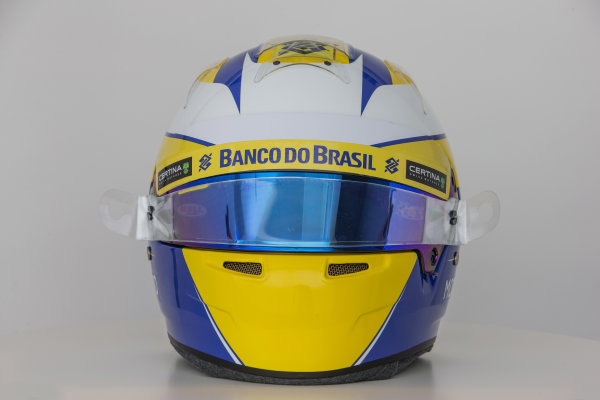Sauber C34 Reveal. Hinwil, Switzerland. Thursday 29 January 2015. Helmet of Marcus Ericsson. Photo: Sauber F1 Team (Copyright Free FOR EDITORIAL USE ONLY) ref: Digital Image Sauber_2015_Helmet_31