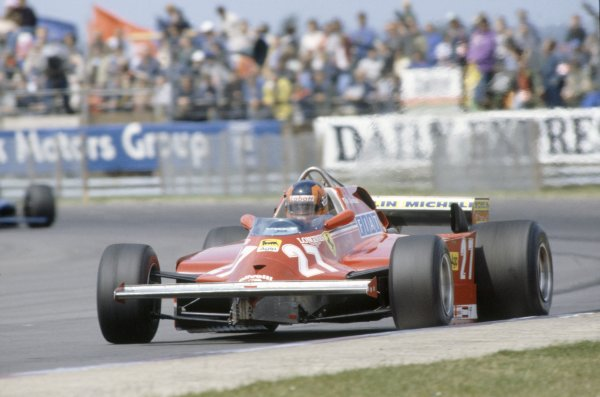 1981 British Grand Prix.Silverstone, Great Britain. 16-18 July 1981.Gilles Villeneuve (Ferrari 126CK), retired.World Copyright: LAT PhotographicRef: 35mm transparency 81GB02