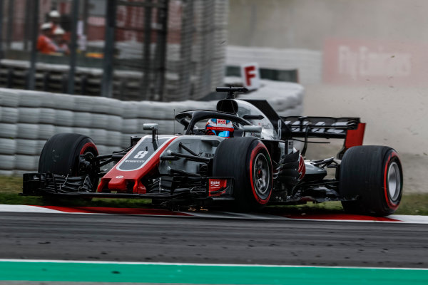 Romain Grosjean (FRA) Haas VF-18 runs wide over the kerb