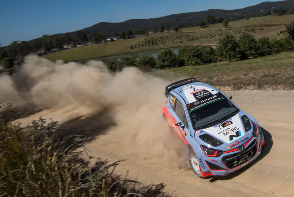 Thierry Neuville (BEL) / Nicolas Gilsoul (BEL) Hyundai i20 WRC at FIA World Rally Championship, R10, Coates Hire Rally Australia, Day Two, Coffs Harbour, New South Wales, Australia, 12 September 2015.
