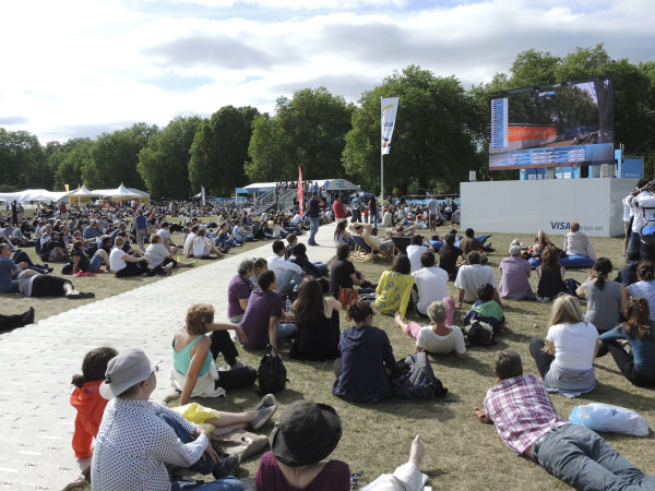 Spectators watch the race on the big screen at Formula E Championship, Rd11, London, England, 28 June 2015.