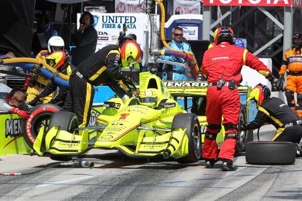 2017 Verizon IndyCar Series Toyota Grand Prix of Long Beach Streets of Long Beach, CA USA Sunday 9 April 2017 Simon Pagenaud pit stop World Copyright: Leland Hill/LAT Images ref: Digital Image LHill-lbgp-ic_0314