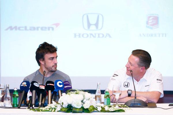 Bahrain International Circuit, Sakhir, Bahrain.  Wednesday 12 April 2017. Fernando Alonso and Zak Brown, Executive Director, McLaren Technology Group, announce Fernando's deal to race in the 2017 Indianapolis 500 in an Andretti Autosport run McLaren Honda car. World Copyright: Glenn Dunbar/LAT Images ref: Digital Image _31I6878