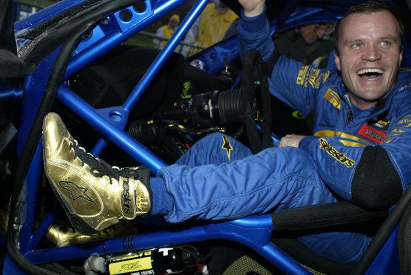 2003 FIA World Rally Champs. Round fourteen Wales Rally GB 6th-9th November 2003.Tommi Makinen, Subaru, portrait.World Copyright: McKlein/LAT