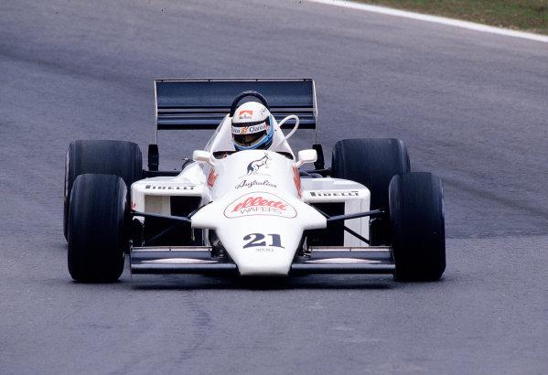1985 Portuguese Grand Prix.Estoril, Portugal.19-21 April 1985.Mauro Baldi (Spirit 101D Hart).Ref-85 POR 34.World Copyright - LAT Photographic