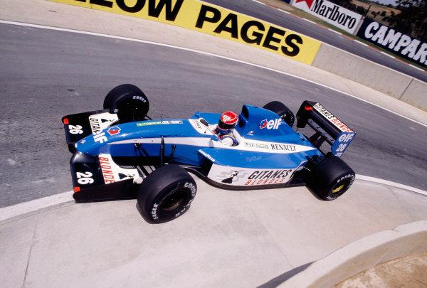 1992 South African Grand Prix.Kyalami, South Africa. 28/2-1/3 1992.Erik Comas (Ligier JS37 Renault) 7th position.Ref-92 SA 25.World Copyright - LAT Photographic
