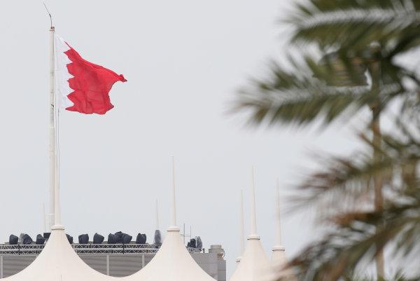 Bahrain International Circuit, Sakhir, Bahrain. Thursday 31 March 2016. The Bahrain flag. World Copyright: Sam Bloxham/LAT Photographic ref: Digital Image _L4R5579