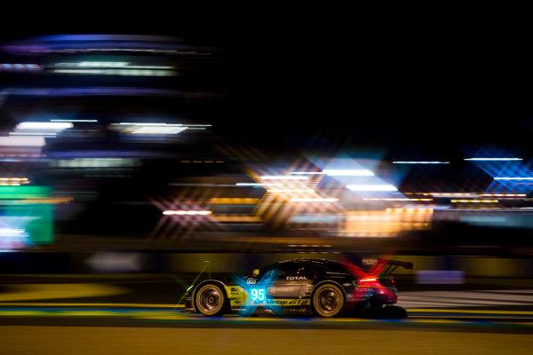 2016 Le Mans 24 Hours. Circuit de la Sarthe, Le Mans, France. Saturday 18 June 2016. Aston Martin Racing / Aston Martin Vantage - Nicki Thiim (DNK), Marco Sorensen (DNK), Darren Turner (GBR).  World Copyright: Zak Mauger/LAT Photographic ref: Digital Image _79P8224