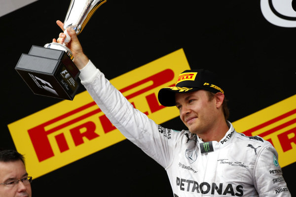 Circuit de Catalunya, Barcelona, Spain. Sunday 11 May 2014. Nico Rosberg, Mercedes AMG, 2nd Position, with his trophy. World Copyright: Andy Hone/LAT Photographic. ref: Digital Image _ONY2125