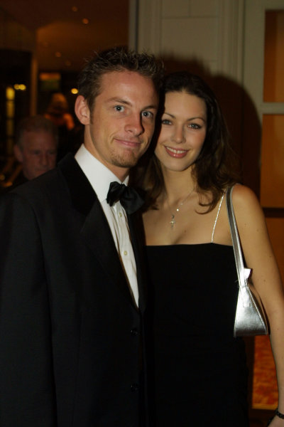 2000 Autosport Awards. Grovesnor House Hotel, Park Lane, England. 3 December 2000. Jenson Button and girlfriend Louise, portrait.  World Copyright : Matt Jennings / LAT Photographic. Ref: Colour Transparency.
