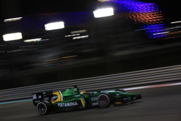 2013 GP2 Series Test 3 Yas Marina Circuit, Abu Dhabi, UAE. Day 3, Thursday 7th November 2013. Rio Haryanto (INA, Caterham Racing)  World Copyright: Sam Bloxham/LAT Photographic. ref: Digital Image IMG_6102