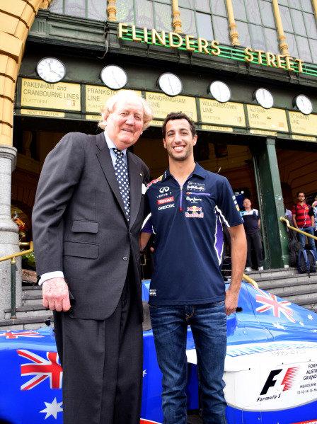 (L to R): Ron Walker (AUS) Chairman of the Australian GP Corporation and Daniel Ricciardo (AUS) Red Bull Racing help to launch the 2015 Australian Grand Prix in Melbourne. 2015 Australian Grand Prix Launch, Melbourne, Australia, 11 December 2014.