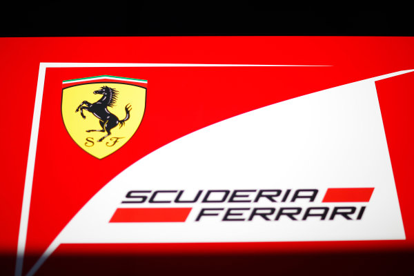 Red Bull Ring, Spielberg, Austria. Friday 19 June 2015. Scuderia Ferrari logo on their motorhome. World Copyright: Alastair Staley/LAT Photographic. ref: Digital Image _R6T0810