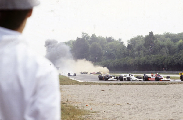 Carlos Reutemann, Ferrari 312T3 and Derek Daly, Ensign N177 Ford spin off track after a collision while Didier Pironi, Tyrrell 008 Ford suffers a broken rear suspension.