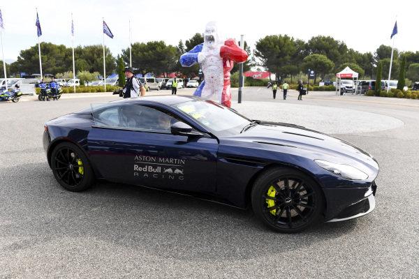 Max Verstappen, Red Bull Racing arrives in a Aston Martin Car