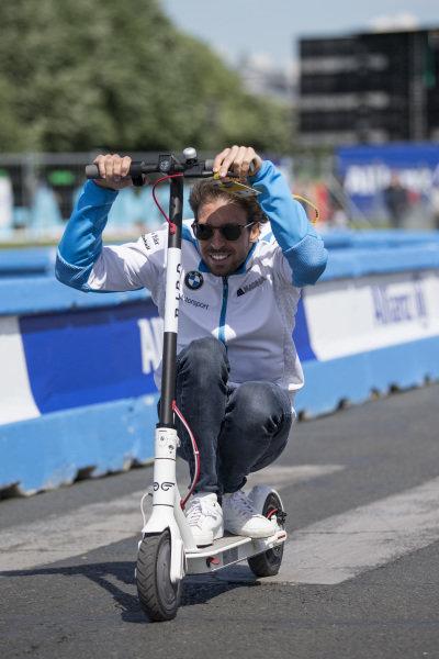 Antonio Felix da Costa (PRT), BMW I Andretti Motorsports, rides down the pit lane on his scooter