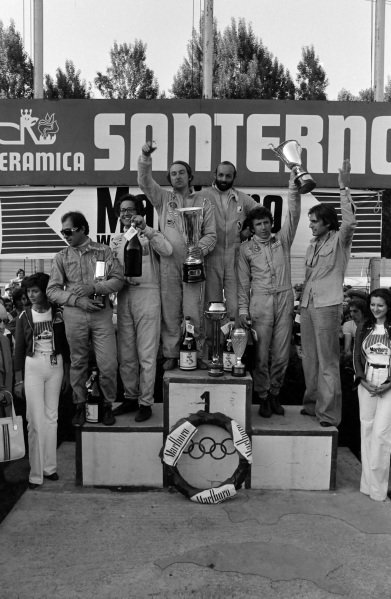Winners Gérard Larrousse and Henri Pescarolo on the podium with Rolf Stommelen and Carlos Reutemann, 2nd position, and Andrea de Adamich and Carlo Facetti, 3rd position.