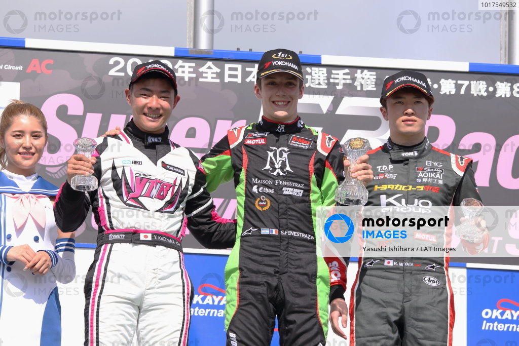 Round 6 podium. Winner Sacha Fenestraz, B-Max Racing with Motopark Dallara F314 Volkswagen. Yoshiaki Katayama, YTB by Carlin, Dallara F315 Volkswagen, 2nd position. Ritomo Miyata, Corolla Chukyo Kuo TOM'S Dallara F317 Toyota, 3rd. Photo by Masahide Kamio