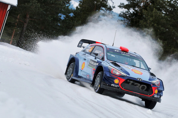 Dani Sordo (ESP) / Marc Marti (ESP), Hyundai Motorsport i20 Coupe WRC at World Rally Championship, Rd2, Rally Sweden, Day Three, Karlstad, Sweden, 12 February 2017.