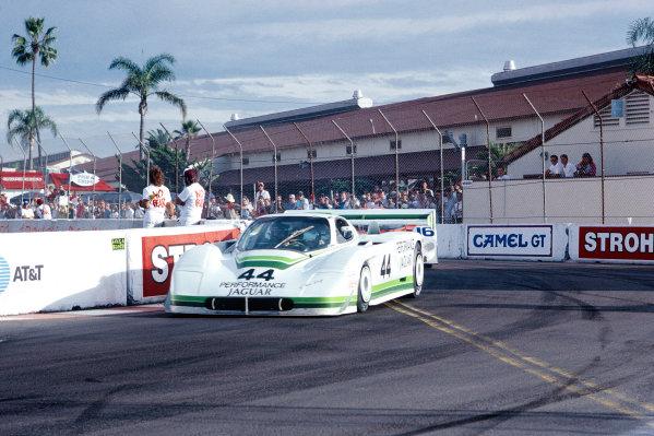 Del Mar 2 hours, California, USA. 25th October 1987. Rd 16.Hurley Haywood / John Morton (Jaguar XJR-7), 10th position, action.World Copyright: Murenbeeld/LAT Photographic. Ref: 87IMSA DM01.