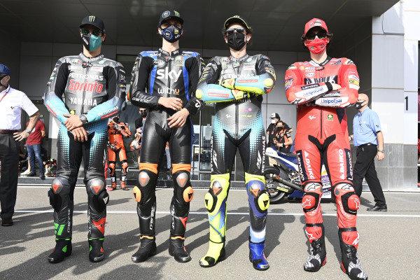 Luca Marini, Esponsorama Racing, Valentino Rossi, Petronas Yamaha SRT, Franco Morbidelli, Petronas Yamaha SRT, Francesco Bagnaia, Ducati Team.