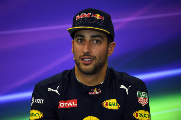 Daniel Ricciardo (AUS) Red Bull Racing in the Press Conference at Formula One World Championship, Rd18, United States Grand Prix, Qualifying, Circuit of the Americas, Austin, Texas, USA, Saturday 22 October 2016.