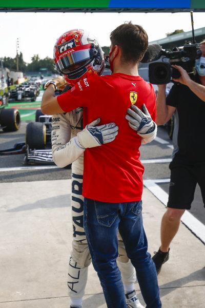 Charles Leclerc, Ferrari celebrates with Race Winner Pierre Gasly, AlphaTauri in Parc Ferme