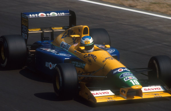 1991 Italian Grand Prix.Monza, Italy.6-8 September 1991.Michael Schumacher (Benetton B191 Ford) 5th position. His first drive for the Benetton team.Ref-91 ITA 10.World Copyright - LAT Photographic